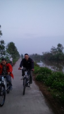 Early biking in the morning around the village